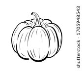 hand drawn pumpkin sketch. ripe ... | Shutterstock .eps vector #1705948543