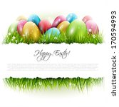 Easter Background With Eggs In...