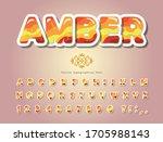 amber glossy font. cartoon... | Shutterstock .eps vector #1705988143