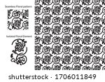 seamless floral pattern. rococo ... | Shutterstock .eps vector #1706011849