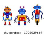Set Of 3 Colorful Robots On A...