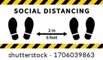 social distancing. footprint... | Shutterstock .eps vector #1706039863