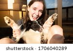 Girl With Her Dog With The...