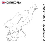 north korea map  black and... | Shutterstock .eps vector #1706055526