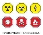warning anf hazard signs ... | Shutterstock .eps vector #1706131366