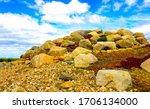 Mountain pile of stones view....