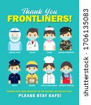 thank you frontline workers who ... | Shutterstock .eps vector #1706135083