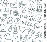 cute icons monochrome... | Shutterstock .eps vector #1706137660