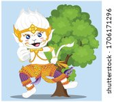 thai art ramayana  vector... | Shutterstock .eps vector #1706171296