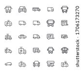car line icons set. stroke...