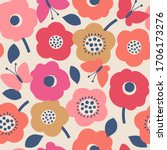 cute hand drawn floral seamless ... | Shutterstock .eps vector #1706173276