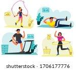 set of men and women exercise...   Shutterstock .eps vector #1706177776