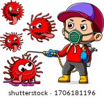 a man wearing mask spray to... | Shutterstock .eps vector #1706181196