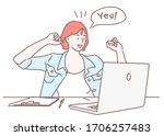 a woman freelancer stretching... | Shutterstock .eps vector #1706257483