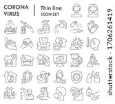 coronavirus thin line icon set  ... | Shutterstock .eps vector #1706261419