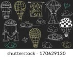 flying objects set with hot air ... | Shutterstock .eps vector #170629130