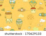 flying objects set with hot air ... | Shutterstock .eps vector #170629133