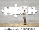 rear view of businesswoman... | Shutterstock . vector #170630843