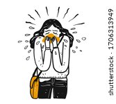 a sick girl is sneezing. the...   Shutterstock .eps vector #1706313949
