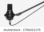 Small photo of microphone isolated with clipping path. Condencer Mic for studio recording voice.