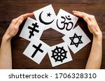 World religions concept. hands...
