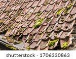 Old Tiled Roof. Background End...
