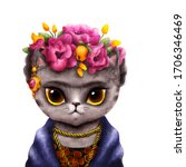 Cat In Frida Style. Cute And...