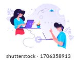 call center  hotline vector... | Shutterstock .eps vector #1706358913