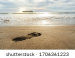 Footprint On The Sand Of The...