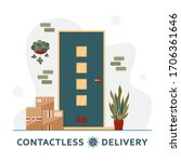 contactless delivery concept.... | Shutterstock .eps vector #1706361646
