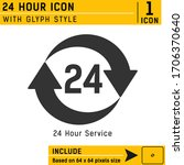 24 hours vector icon with glyph ...