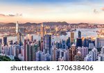 sunset over victoria harbor as... | Shutterstock . vector #170638406