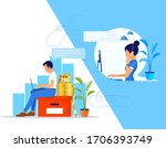 support manager with headset... | Shutterstock .eps vector #1706393749