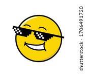 funny emoticon. pixel black... | Shutterstock .eps vector #1706491720