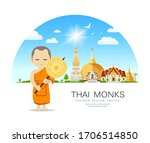 thai monks talipot fan in hand... | Shutterstock .eps vector #1706514850