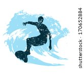 silhouette of a surfer in grunge style splashes - stock vector