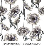 pattern with peony bouquet with ... | Shutterstock .eps vector #1706548690