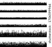 grass border silhouettes. black ... | Shutterstock .eps vector #1706599966