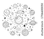 doodle solar system. hand drawn ...   Shutterstock .eps vector #1706600050