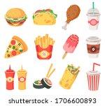 junk street food. fast food ... | Shutterstock .eps vector #1706600893