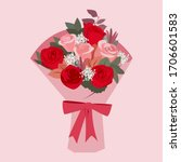 bouquet of red and pink roses... | Shutterstock .eps vector #1706601583