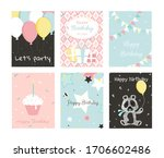 set of birthday greeting cards... | Shutterstock .eps vector #1706602486