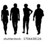 big crowds people on street.... | Shutterstock .eps vector #1706638126