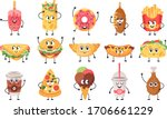 funny food mascots. cute doodle ...