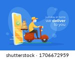 stay at home we delivery food... | Shutterstock .eps vector #1706672959
