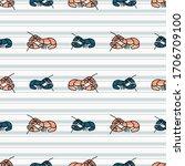 Cute Lobster Cartoon Seamless...