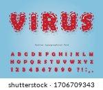 virus cartoon font. coronavirus ... | Shutterstock .eps vector #1706709343