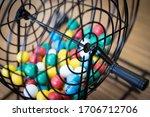A Close Up Of A Bingo Cage...
