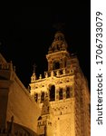 Giralda tower in Sevilla night photography