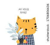 little tiger with rubber tree.... | Shutterstock .eps vector #1706806636